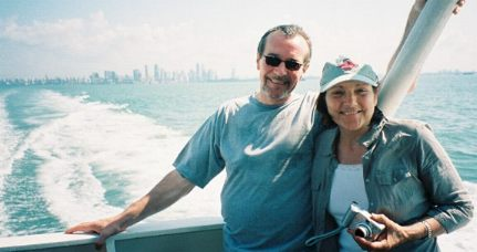 Bob and Moira with Singapore's skyline